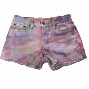 Levi's Mid Rise Denim Shorts Tie Dye 27